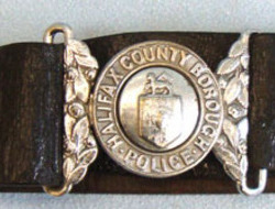 Victorian Period County Borough Police Uniform Leather Waist Belt, Buckle and Cl Halifax County Borough Police Uniform Leather Waist Belt, Buckle and Clasp.