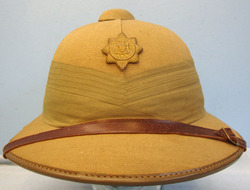 South African Police 6 Panel Solar Topee Pith Helmet & South African Police Helm South African Police 6 Panel Solar Topee Pith Helmet & South African Police Helm