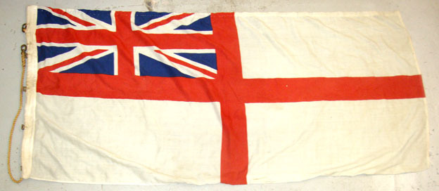 "White Ensign Ship's Flag (68""x32"") With Hanging Rope & Brass Fittings British Cloth Construction Royal Navy White Ensign Ship's Flag (68""x32"") With Ha Accessories"