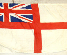 "White Ensign Ship's Flag (68""x32"") With Hanging Rope & Brass Fittings British Cloth Construction Royal Navy White Ensign Ship's Flag (68""x32"") With Ha"