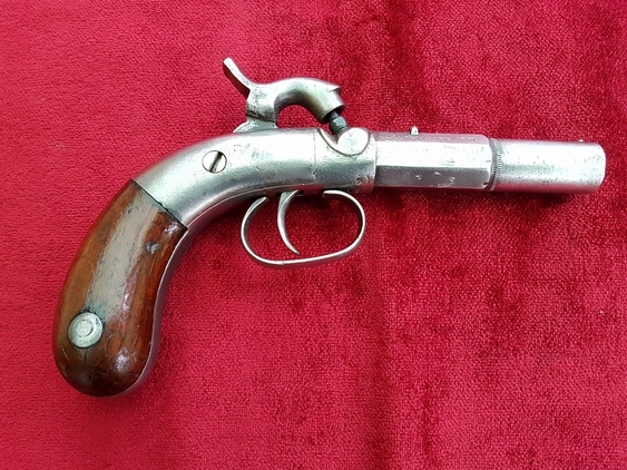 An interesting American antique percussion Bootleg single shot pistol circa 1850. Ref 9724. Pistol / Hand Guns