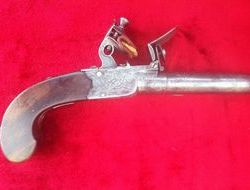 English single barrelled flintlock pocket pistol with fold down t...