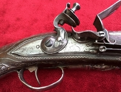 Balkan Flintlock pistol with heavy silver mounts. Ref 7576 Muzzle...