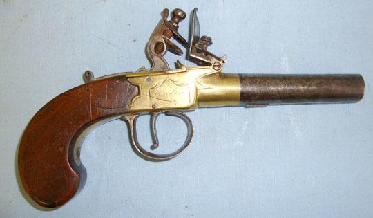 Thomas Broomhead, London Brass Frame 50 Bore Flintlock Pocket Pistol