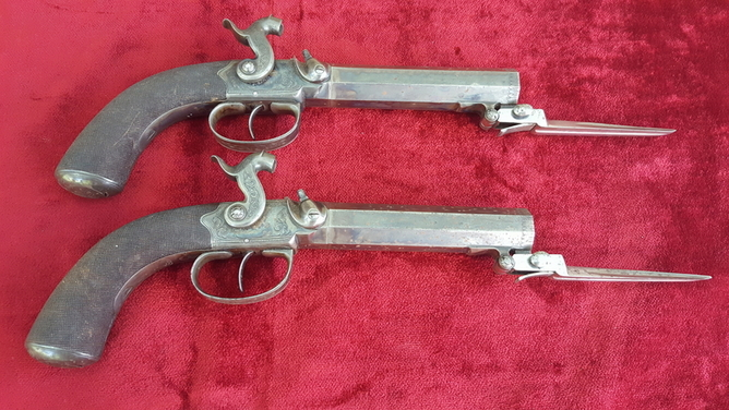 Pair of percussion  travelling pistols fitted with spring bayonets by G & J DEANE LONDON. Ref 9405 Pistol / Hand Guns