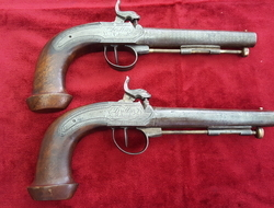 A very unusual pair of French percussion officers pistols engraved D ALBIEZ Lt COLONEL. Circa 1840. Good condition. Ref 9205.   Muzzleloader