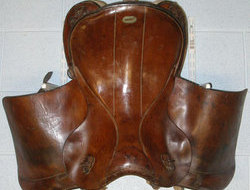 1936 German Military Leather Cavalry Saddle. L 158 - LGerman Military Leather Cavalry Saddle.