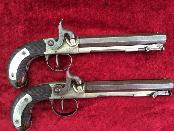 Pair of presentation percussion pistols. Made by J TARRATT of London. Dated 4th July 1837. Ref 9304 Pistol / Hand Guns