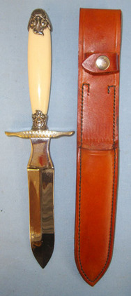 David North Spear Point Bowie Knife With Leather Scabbard.  Blades