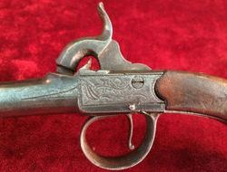English Queen Anne style cannon barrelled percussion pocket pistol. Ref 8262   Muzzleloader