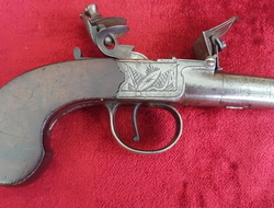 English flintlock pocket pistol manufactured by Johnson & Collins. Ref 9401   Muzzleloader