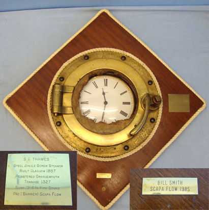 Recovered WW1 Royal Naval Block Ship at Scapa Flow, SS Thames Brass Porthole Mou SS Thames Brass Porthole Mounted With Clock Accessories