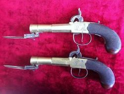 Pair of English Brass Barrelled Blunderbuss Pistols with Spring Bayonets. Ref 8289   Muzzleloader