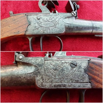 A very scarce and unusually large size English flintlock box-lock pistol . Made by John Bass of London. Ref 9586. Pistol / Hand Guns
