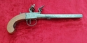 A very scarce and unusually large size English flintlock box-lock pistol . Made by John Bass of London. Ref 9586.   Muzzleloader for sale