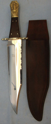 David North Hand Tooled Bowie Knife With Polished Wood Grips and Brown Leather Sheath. Blades