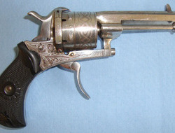 Nickel Plated Continental 7mm Pinfire 6 Shot Revolver With Folding Trigger & Oct 7mm Pinfire 6 Shot Revolver With Folding Trigger & Octagonal Barrel. 7 mm  Revolver