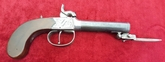 English single barrelled percusion pistol with spring bayonet. Ref 9473   Muzzleloader for sale in United Kingdom