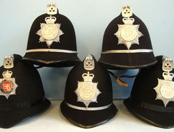 Police Constable & Sergeant\'s Uniform Helmet with Plate. (price per helmet) Mer British Police Constable & Sergeant's Uniform Helmet with Plate. (price per helm