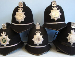 Police Male Constable\'s / Sergeant\'s Blue Serge Helmets With He...