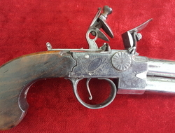 Henry Richards double Barrelled Tap Action Flintlock Pistol. Ref ...