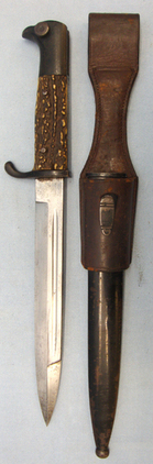 Eickhorn Solingen M98 Eickhorn Dress Bayonet With Stag Horn Grips, Scabbard and Frog. Bayo 280  Blades