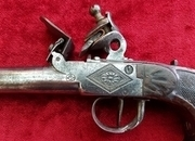 A good Belgian single shot flintlock pistol, the barrel stamped with the Liege ELG proof mark. Circa Ref 8756.   Muzzleloader