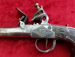 A good Belgian single shot flintlock pistol, the barrel stamped w...