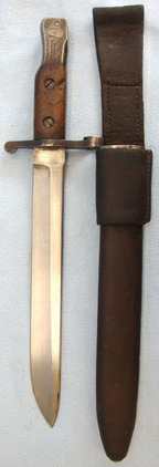 Ross Rifle Co Quebec Patent 1907 Canadian Ross Bayonet MK I With Leather Scabbar  Blades