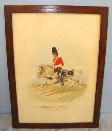 Framed Victorian 1887 Dated Water Colour Painting Of Mounted Second Dragoons, Ro Framed Victorian 1887 Dated Water Colour Painting Of Mounted Second Dragoons, Ro Accessories