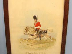Framed Victorian 1887 Dated Water Colour Painting Of Mounted Second Dragoons, Ro Framed Victorian 1887 Dated Water Colour Painting Of Mounted Second Dragoons, Ro