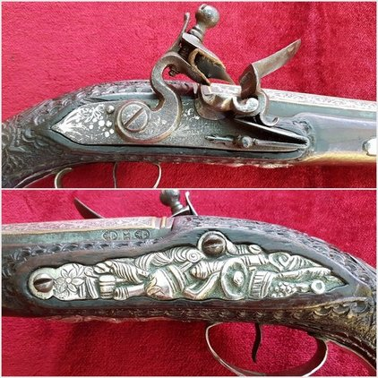 A good silver inlaid Balkan Flintlock pistol Circa 1800. Butt cap, trigger guard and side-plate all with heavy silver decoration. Ref 9853. Pistol / Hand Guns