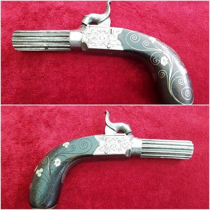 A fine percussion pocket pistol engraved MATHEWS of KENDALL with silver wire inlay to the grip. Circa 1835-1840. Good condition. Ref 9953. Pistol / Hand Guns