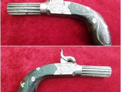 A fine percussion pocket pistol engraved MATHEWS of KENDALL with silver wire inlay to the grip. Circa 1835-1840. Good condition. Ref 9953.   Muzzleloader