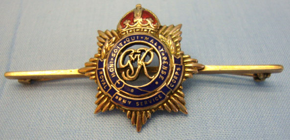 Royal Army Service Corps Sweetheart Brooch. 9 Ct Gold And Enamel G.V.I.R. Royal Army Service Corps Sweetheart Brooch. Accessories