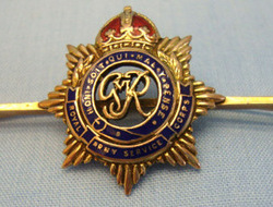 Royal Army Service Corps Sweetheart Brooch. 9 Ct Gold And Enamel G.V.I.R. Royal Army Service Corps Sweetheart Brooch.
