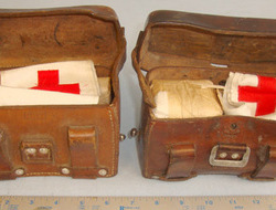 Pair Of WWII 1937 & 1941 Dated German Army Combat Field Medic's (Sanitäter) Hard Combat Field Medic's (Sanitäter) Hard Case Left & Right Leather Belt Pouches By