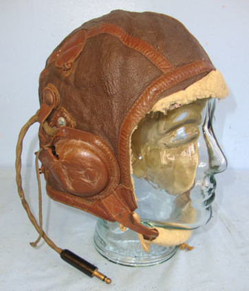 USAAF) Fighter Pilot\\\'s B-6 Leather Flying Helmet With Murdock Co U.S. Army Si Fighter Pilot's B-6 Leather Flying Helmet With Murdock Co U.S. Army Signal Corps Accessories