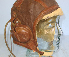 USAAF) Fighter Pilot\\\'s B-6 Leather Flying Helmet With Murdock Co U.S. Army Si Fighter Pilot's B-6 Leather Flying Helmet With Murdock Co U.S. Army Signal Corps
