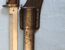 Norwegian M1894 Krag Jorgensen Bayonet, Scabbard and Leather Frog.  Bayonets