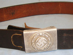 Lederweke Sedia Finkerwalde Nazi Police / Fire Other Ranks Aluminium Buckle By RS & S With Early WW2 1940 Da