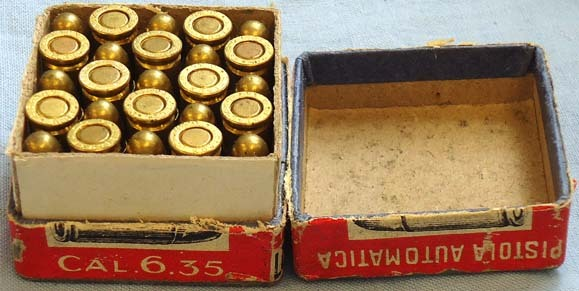 DEACTIVATED INERT. Original Italian WW1 Era 25 Round Box Of 6.35mm (6.35 x 16SR) DEACTIVATED INERT. Original Italian WW1 Era 25 Round Box Of 6.35mm (6.35 x 16SR) Accessories