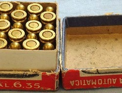 DEACTIVATED INERT. Original Italian WW1 Era 25 Round Box Of 6.35mm (6.35 x 16SR) DEACTIVATED INERT. Original Italian WW1 Era 25 Round Box Of 6.35mm (6.35 x 16SR)