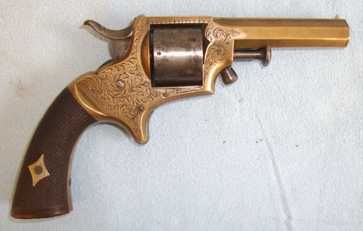 Charles Edward Hurst, Horsham, Surrey. Brass .32 Rim Fire 6 Shot Brass Pocket Revolver With Octagonal Barrel By Charles Pistol / Hand Guns