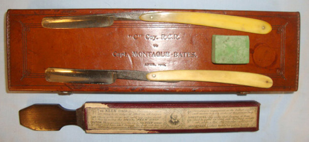 Cased British Officer's Field Equipment Personal Grooming 'Cut Throat' Razor Set Cased British Officer's Field Equipment Personal Grooming 'Cut Throat' Razor Set Accessories