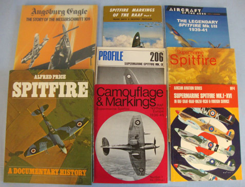 Spitfire & One On The ME 109 books Collection of Eight Books, Seven On The Spitfire & One On The ME 109.  Accessories