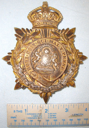Manchester Regiment Helmet Plate. Pre WW1 C1902- 1914 British Kings Crown Manchester Regiment Helmet Plate. Accessories
