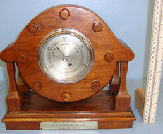 Aircraft Teak Propeller Boss / Hub Fitted With A Period Barometer By 'OC' & Conv Aircraft Teak Propeller Boss / Hub Fitted With A Period Barometer By 'OC' & Conv