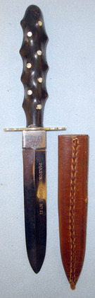Henry Hobson & Sons Sheffield Masonic Knife With Ebony Handle Inlaid With Mother  Blades