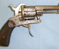 Belgian Liege Pinfire 7mm Obsolete Calibre 6 Shot Double Action Revolver With Ornate Tooled De 7 mm  Revolver
